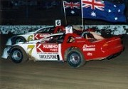 1991 - Nick driving the Nicholson Chev Monte Carlo NASCAR in the rain at the Thunderdome Victoria