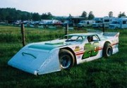 1989 - Nick gets to grips with a left hand drive late model at Brownstown Speedway Indiana USA